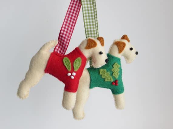 MisHelenEous Handmade Christmas Dog Decorations