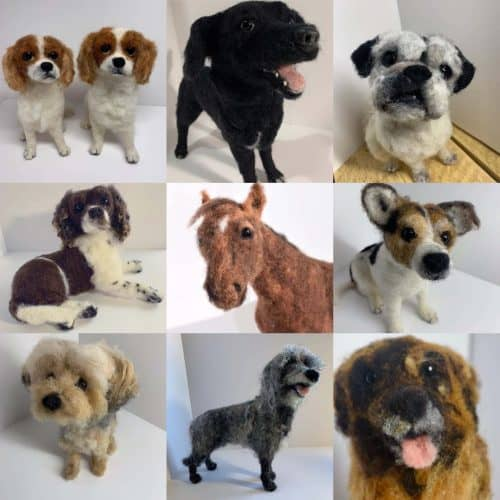 Needle Felt Dog Portraits
