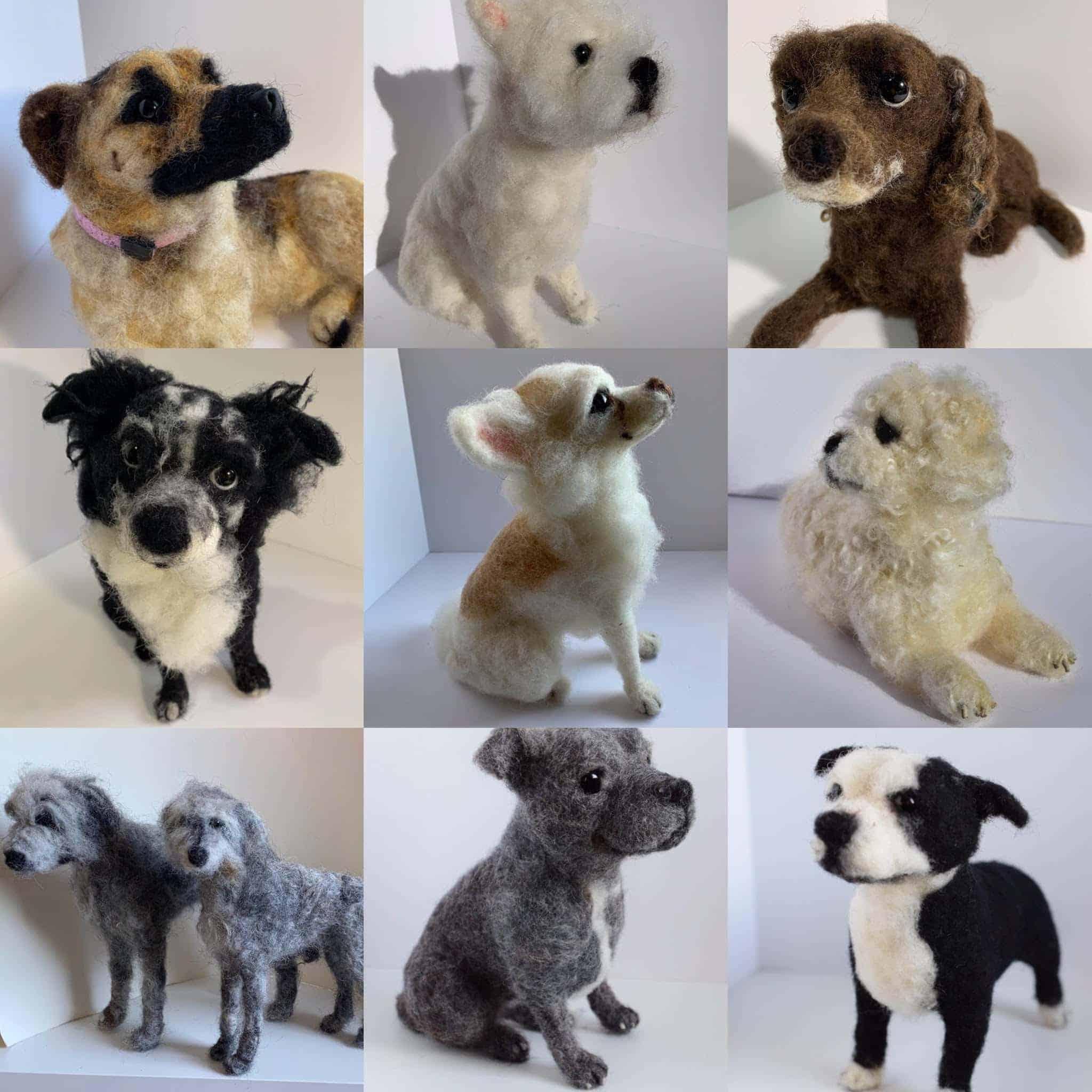 Needle Felt Dog Models
