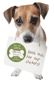 Poppy with look for our stickers sign