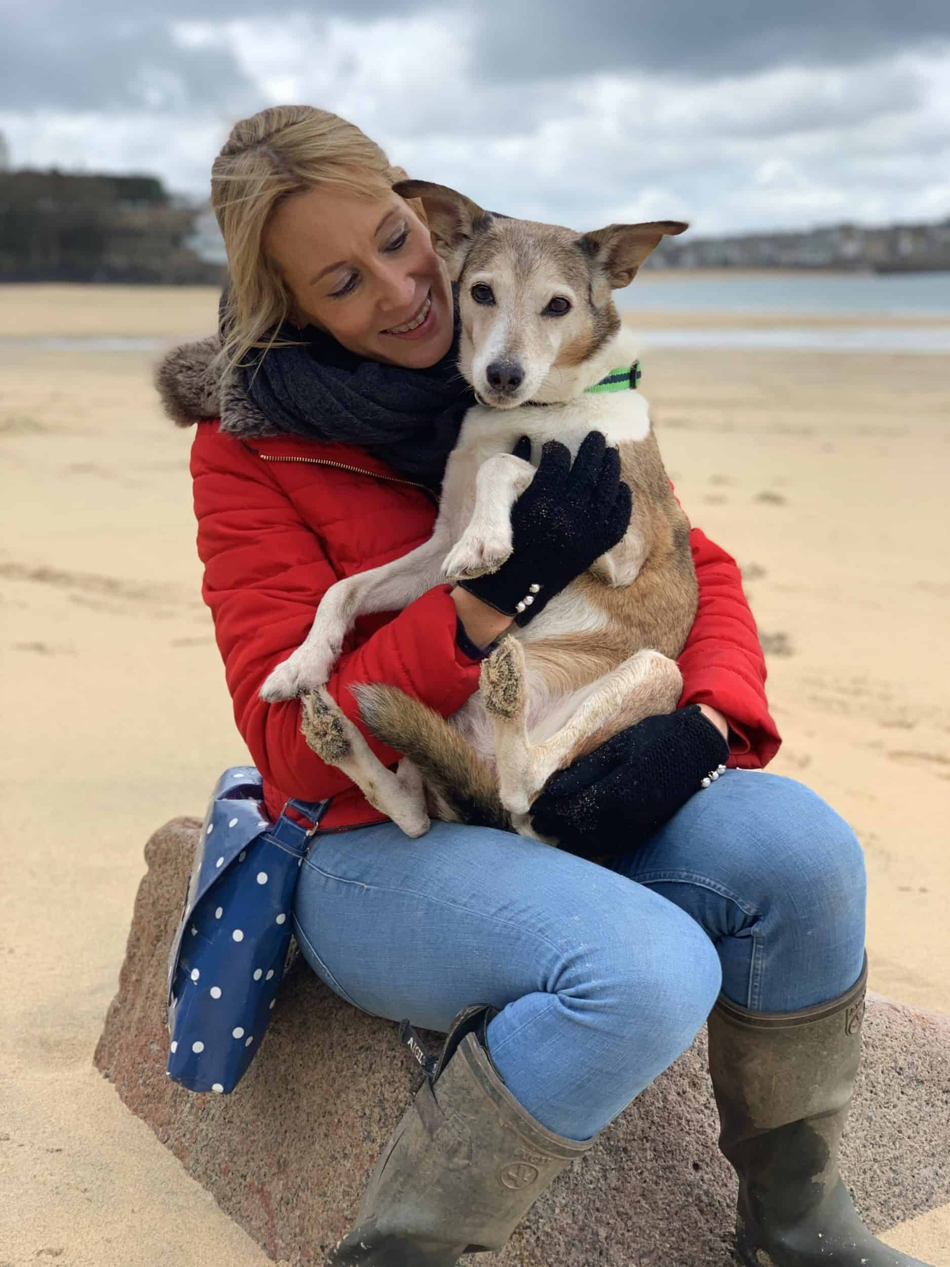 Kate Taylor and Poppy on Porthminster Beach