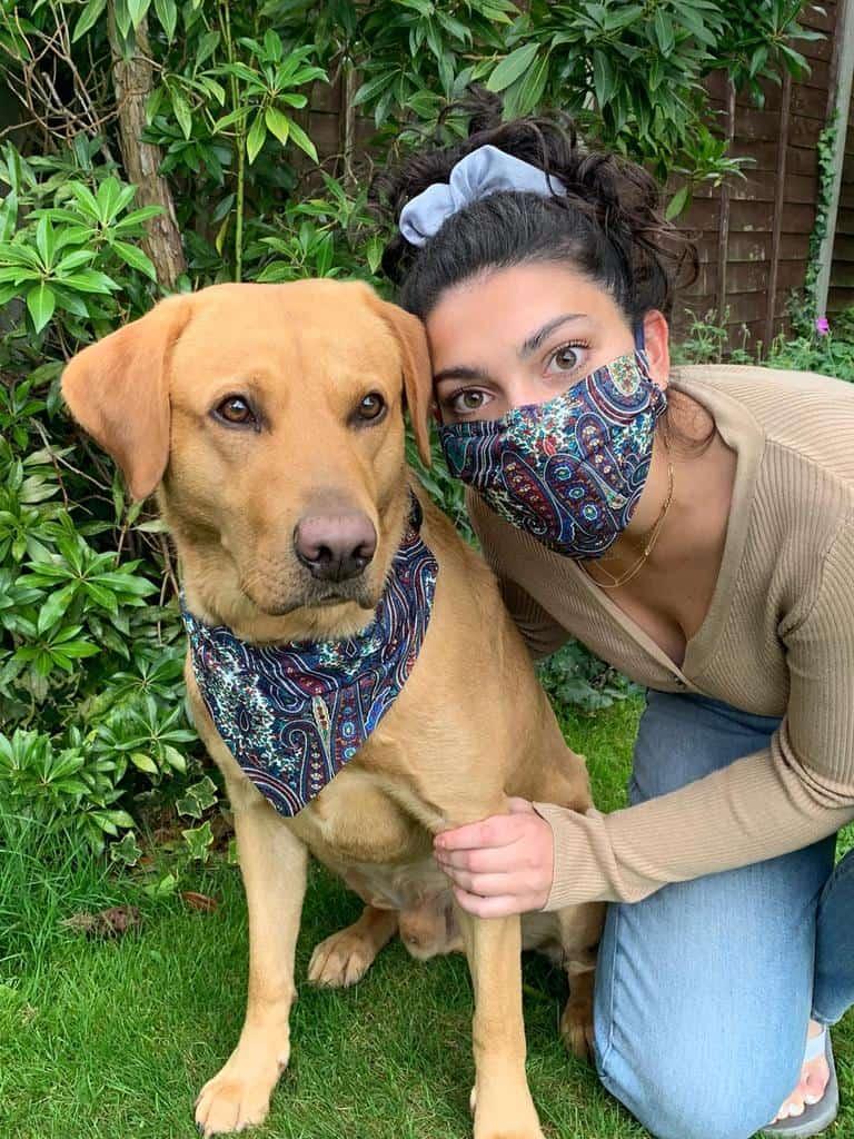 Matching Face Mask and Dog Bandana Leo Charley and Me
