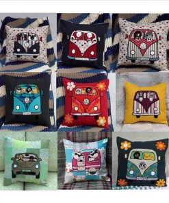 Dog in campervan cushions