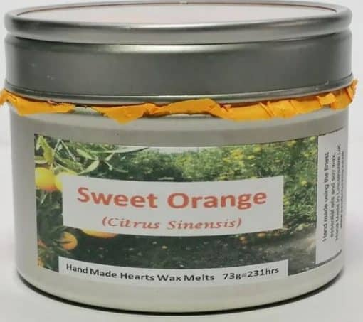 Silver tin with lid. Sweet Orange label