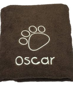 Embroidered chocolate dog towel
